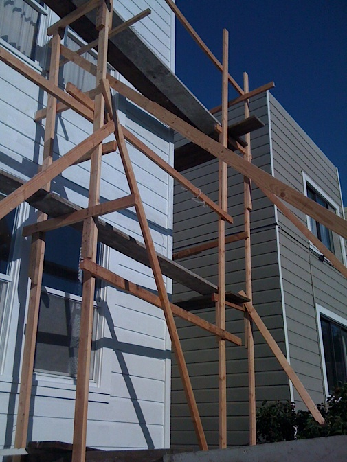 To save money on painting build your own scaffolding for Save money building a house