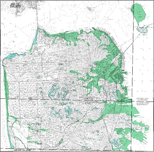 Click on image to download PDF.  Areas of Green indicate Liquefaction.  Blue indicate