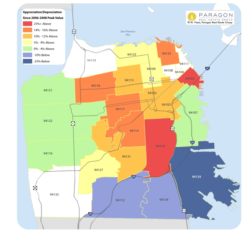 Heat Map Of San Francisco Median Home Price Changes Since Previous