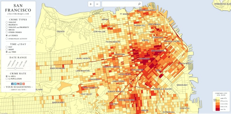 San Francisco Drug Dealing Violent And Property CrimesAll In One - San francisco map tenderloin district