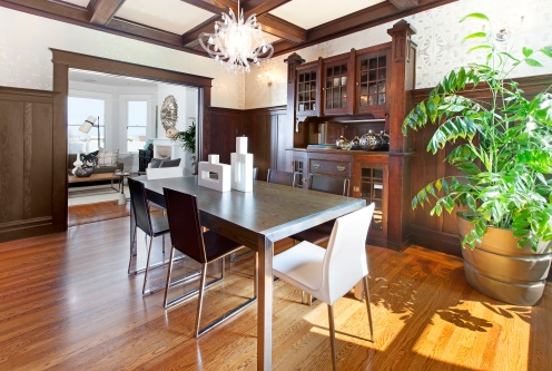 Formal Dining Room w/ Box-beam ceiling, and period details