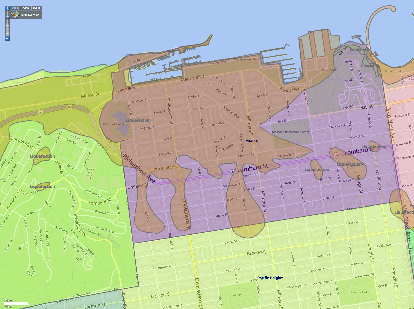 Liquefaction Zones Of San Franciscos Marina District